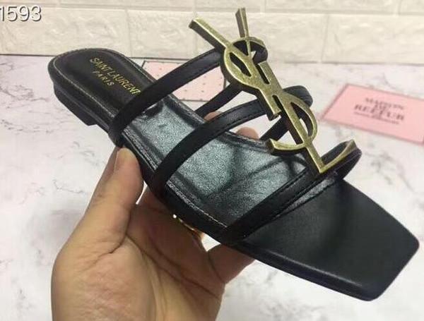 Mais novo HOT GILR mulheres YL Paris moda tendência início verão chinelos de couro sapatos de grife sandálias de estilo simples high-end
