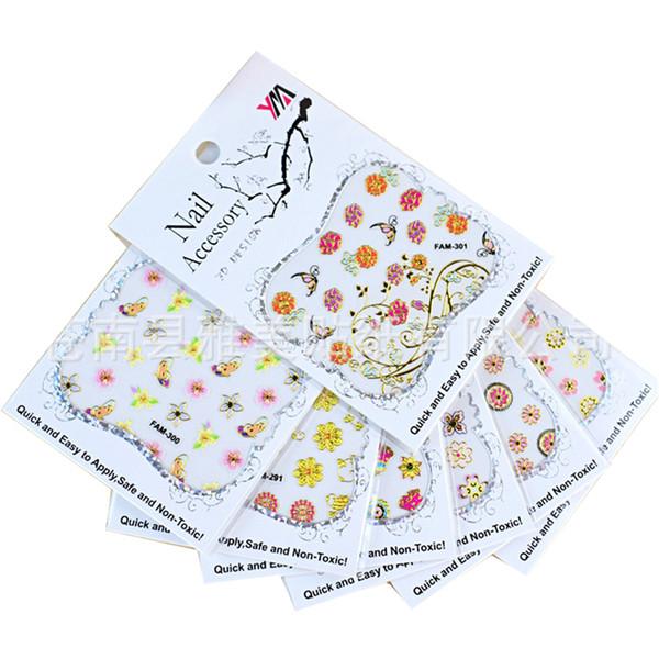 30 Sheet Random Design Stamping 3D Nail Art Sticker Set Bronzing Flower Design Adhesive Self Decal Sticker DIY Manicure Tools