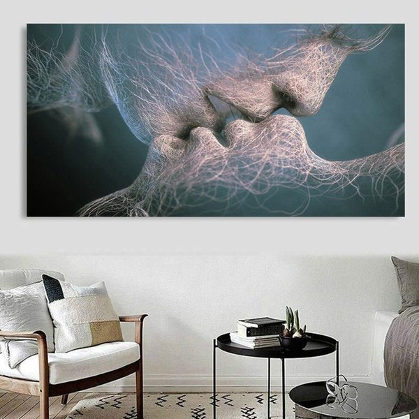 Ture Love Kiss Handpainted &HD Print Modern Abstract Art Oil Painting Home Deco on Canvas Multi sizes /Frame Options p192