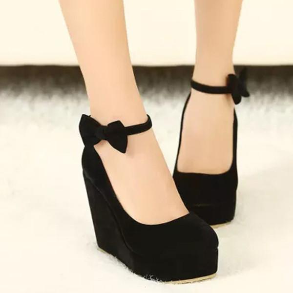 Donna Dolce Bow Platform Pompe Lady Suede Zeppe Punta Rotonda Dress Shoes Fashion Buckle Strap Platform Sandali DK38
