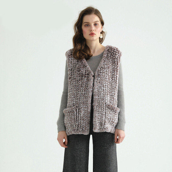 FF916 Pudi New fall winter Faux rex fur girl V neck short vest lady fashion pocket knitted fur wrap shawl