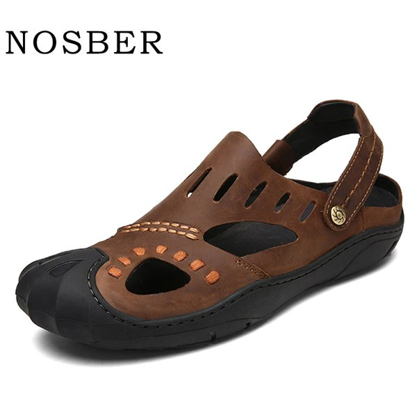 NOSBER Summer Male Sandals Homme Plage Genuine Leather Breathable Beach Shoes Soft Light Mens Shoes Casual Slip-On Slipper