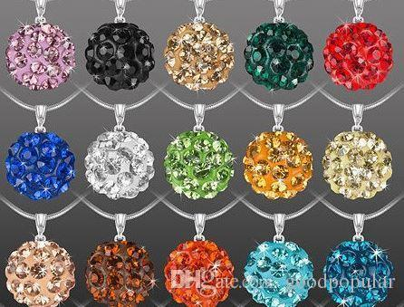 10mm mix multicolor 18 inch men women Snake lowest price Fashion jewelry Crystal Disco Balls crystal Necklace pendants Chains n4254