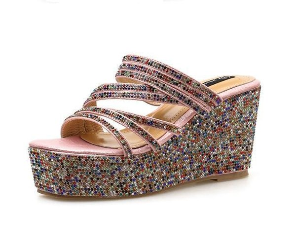 Summer new color diamond high heel slippers Korean fashion comfortable wedge sandals and slippers