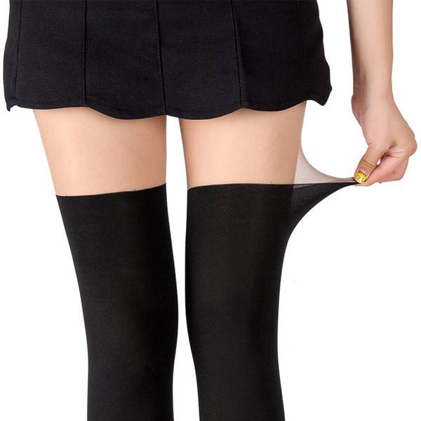 350904c827abb New arrival Mock Suspender Tights Women Fake Thigh High Open Crotch Tights  Shiny Crotchless High Waist