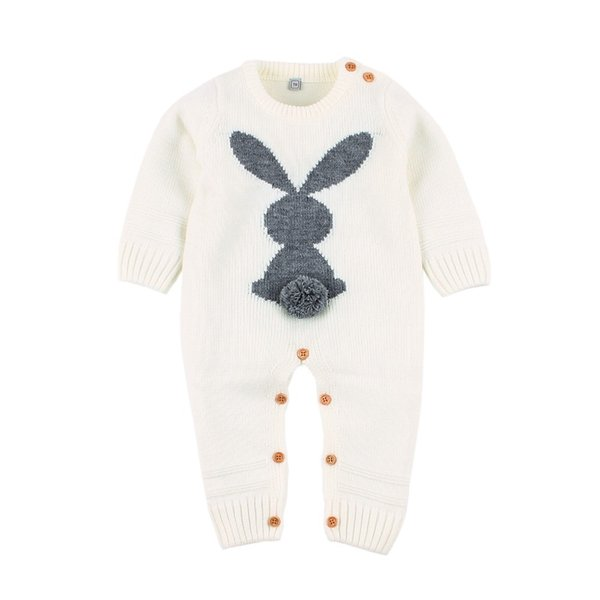 Baby Clothes Funny Rabbit Knitted Newborns Boy Girl Rompers Spring Long Sleeve Infantil Bebes Jumpsuits Children Easter Overall J190526