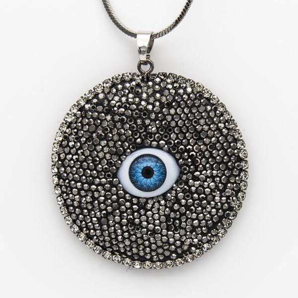 New Style Designer Black Rhinestone Blue Evil Eyesl Round Shape Clay Filled Pendant Chain Necklace Couture Jewelry Gifts for Women Wholesale