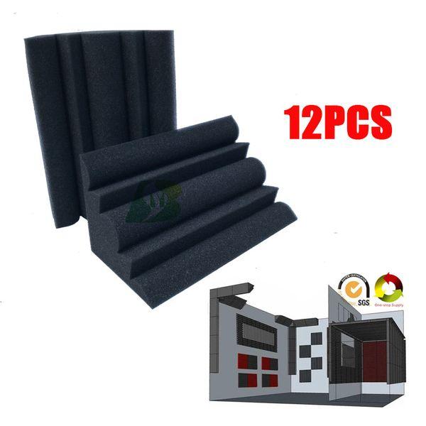 "best selling 12pcs Small Bass Trap Foam Acoustic Sponge Studio Sound Treatment Corner Wedge Sound Absorption Foam 4.7 x 4.7 x 9.4""inch"