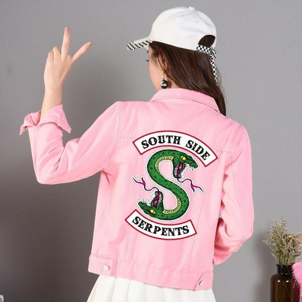 2019 Neue Jeans Denim Jacke South Side Schlangen Streetwear Tops Frühling Jean Frauen Jacke Harajuku Hip Hop Denim Kleidung Weiblich