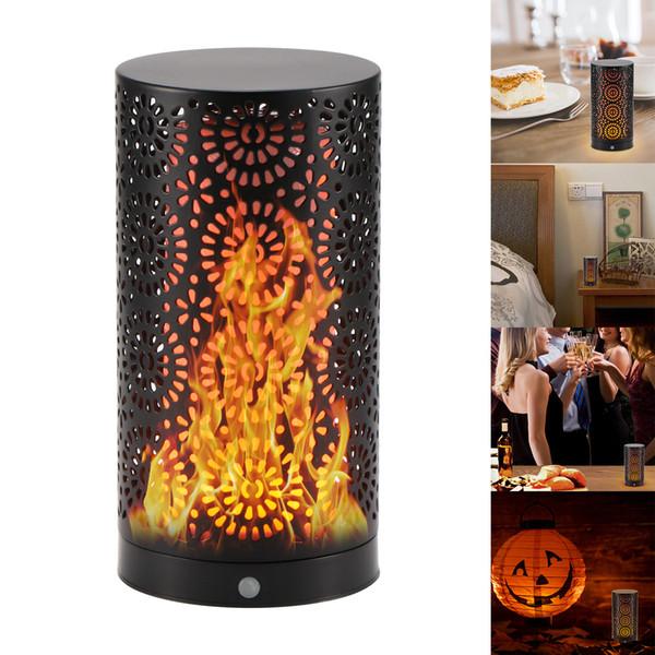 Lampada da fiamma a LED Lampada da notte ricaricabile USB Decorazione per la casa Emulazione per esterni per interni Effetto fuoco Sfarfallio Lampada da tavolo magnetica