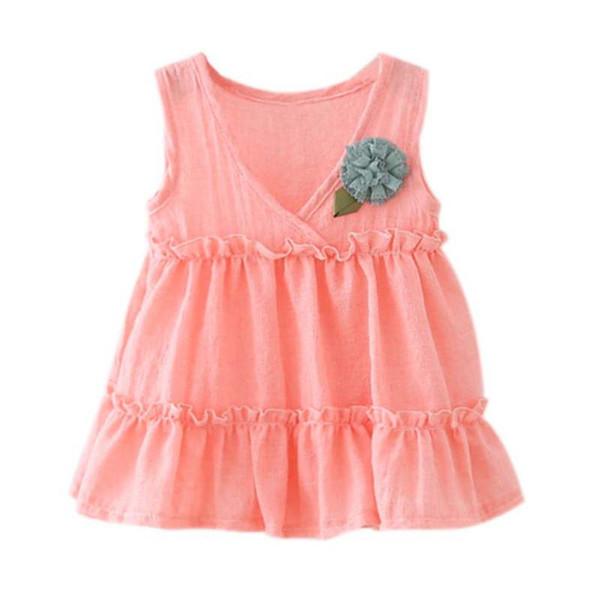 Vestido de verano de bebé recién nacido Estilo Algodón Lino Sin mangas Ropa de niña Vestido en capas veneciano con la flor # 25