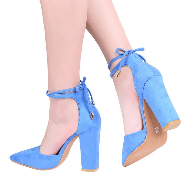 Designer Dress Shoes Pointed Strappy Pumps Sexy Retro High Thick Heels 2019 New Woman Female Lace Up cheap