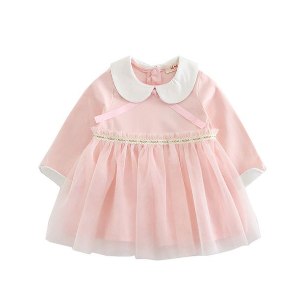 2019 Spring Baby Party Dress For Girls Peter Pan Collar Wedding Kids Tutu Dresses Children Princess Party Dresses Ball Gown 0-4y Y19061101