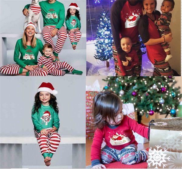 Pyjama Noël en famille à rayures Vêtements de Noël Pyjama Vêtements Ensembles Mère Fille Fils Père Noël Vêtements assortis Homewears Elk cerf