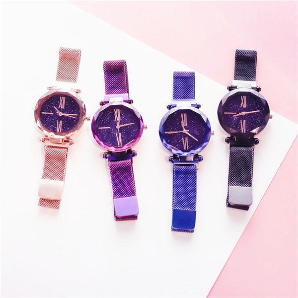 Wholesale Ladies Alloy Watches 2019 New Arrival Luxury Casual Magent Clap for Lazy Women Female Stainless Steel Clock Watches Analog Quartz