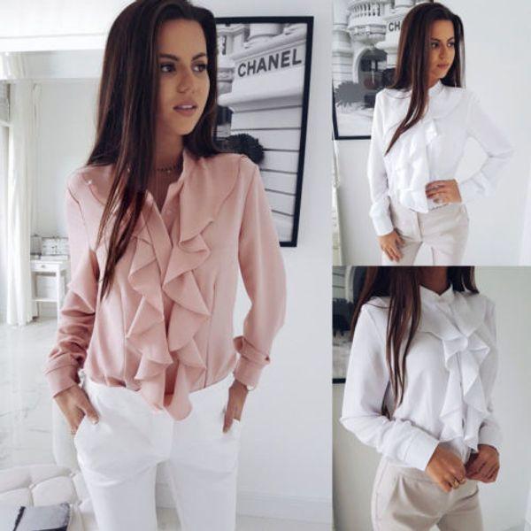 New Fashion Ruffle Blouse Shirt Women Casual Shirt Tops Loose Blouse Long Sleeve T-Shirt Spring Autumn Ladies Tops Pink&White