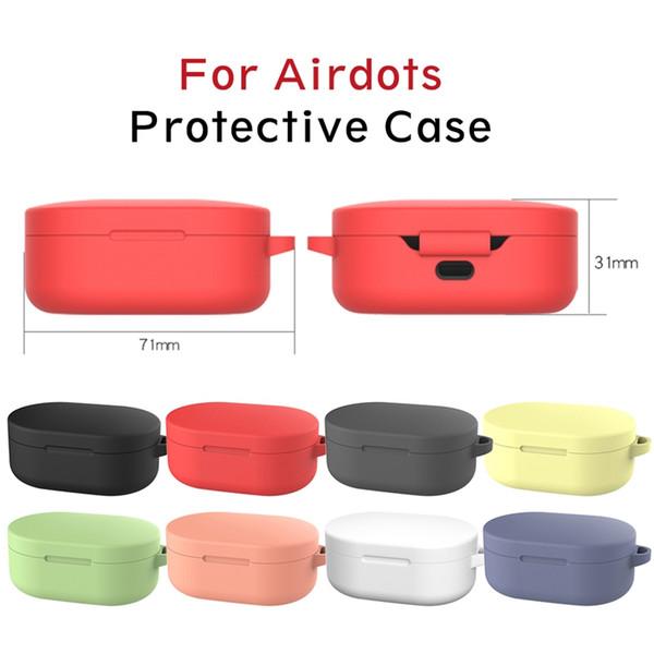 Funda Candy Colors para Xiaomi Redmi AirDots TWS Auricular Bluetooth Funda protectora de silicona con gancho