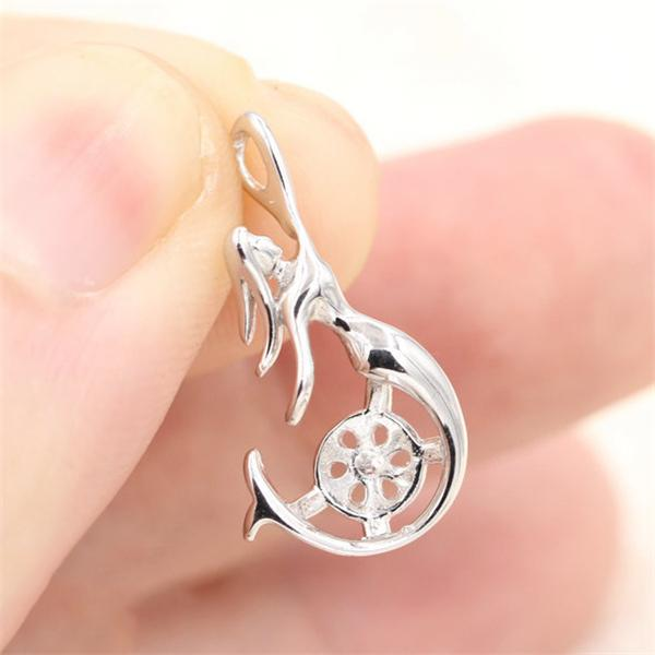 best selling 100% Real S925 Sterling Silver Mermaid Wome's Pearl Pendant Mounting Fashion DIY Necklace Jewelry Settings Findings Wholesale DZ001