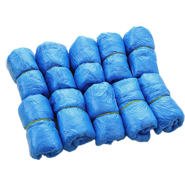 1Bag/100PCS Blue Polythene / Plastic Medical Waterproof Boot Covers Plastic Disposable Shoe Covers Overshoes