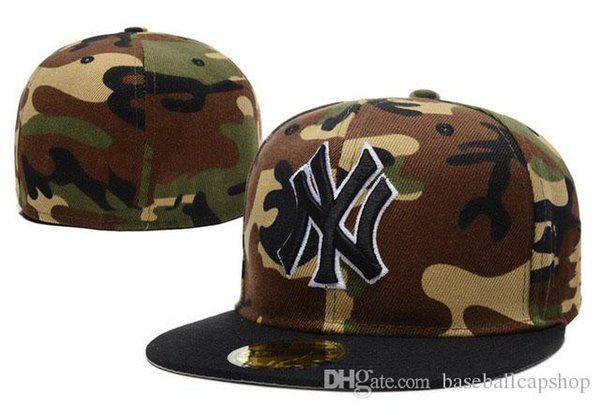 Wholesale Cheap Price Full Camo Color Letter NY fitted Hats Men's in Baseball Caps Hip Hop ny cap for sale