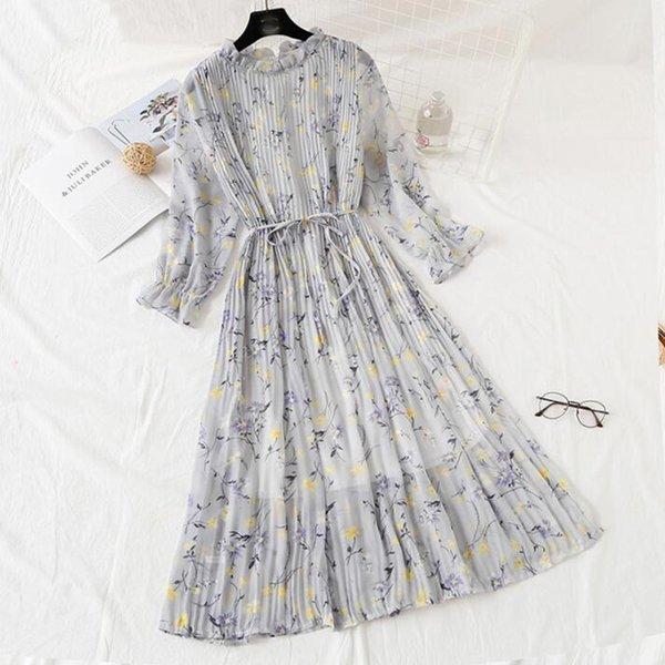 Donne abito lungo 2019 primavera estate vintage stampa floreale pieghettato abito in chiffon manica lunga allentato plus size abiti vestidos Y19052901