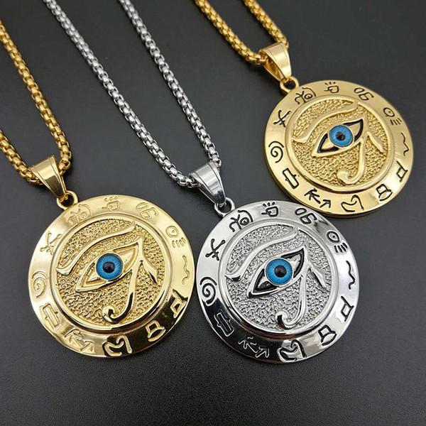 Nuovo arrivo The Ancient Egypt Silver Gold Acciaio inossidabile L'occhio del ciondolo pendente degli occhi massone massonica Horus Blue Evil