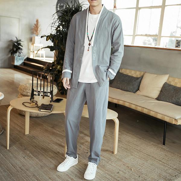 Fashion Men 2PCS Set (Hemd + Hose) Langarm Freizeithemd Cardigan Jacke Männlich Chinesisch Hemd Hose Schwarz Grau