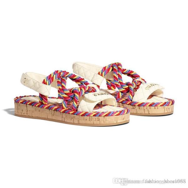 Nouveaux Sandales pour femmes mules Tongs avec cordon Sandales de designer Sandales blanches et noires multicolores et ivoires