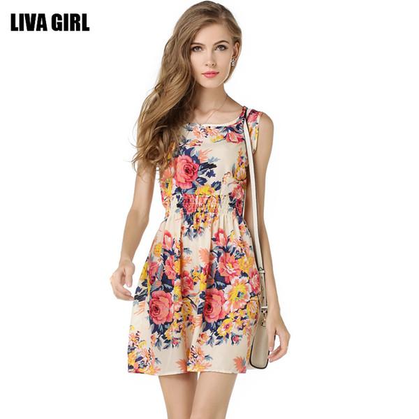 2019 nuevo vestido floral floral gasa cuello redondo vestido sin mangas falda con volantes mujer moda vestido de verano