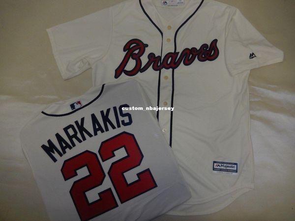 Cheap custom NICK MARKAKIS Baseball Cool Base JERSEY CREME Stitched Customize any name number MEN WOMEN BASEBALL JERSEY XS-5XL