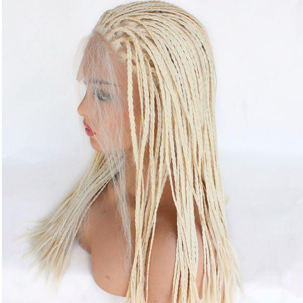 # 613 Perruques en dentelle tressées avant cheveux synthétiques Naturel Noir résistant à la chaleur perruques de cheveux tressés pour les femmes noires la moitié attachées