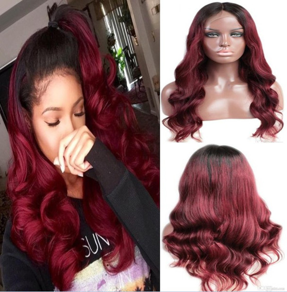 Swiss Lace Front Lace Wig Malaysian Virgin Human Hair Black Root Two Tone Ombre Burgundy 1B/99J Full Lace Wig For Black Woman