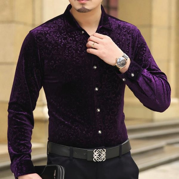 Outono Primavera Luxo Mens Velours seda Shirts Formal Dress Shirt Slim Fit Imprimir Moda de alta qualidade M-3XL Drop Shipping