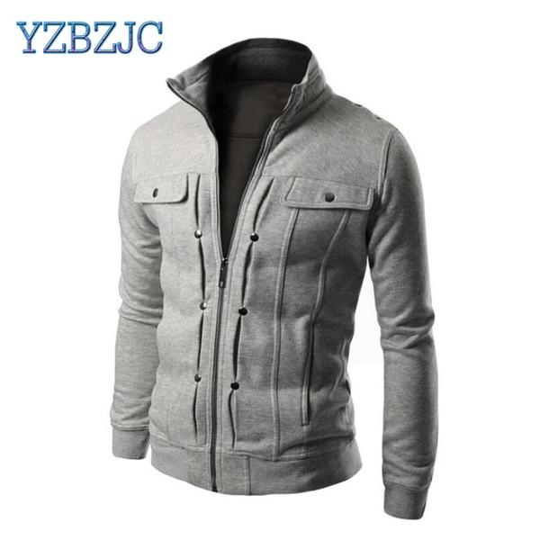 2018 spring men's clothes Slim-fit fleece solid jackets color clothing diagonal pull pocket men's casual coat
