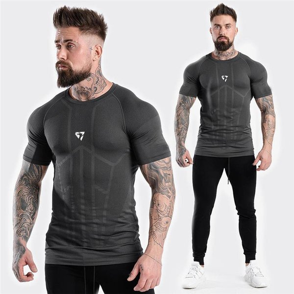 Compression Running Gym T-shirt Mens Short Sleeve T-Shirts Sports Top Men Joggers Fitness Bodybuilding Sweatshirts Male Shirts