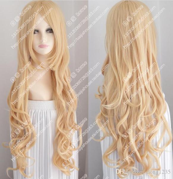 Loiro dourado grande ondulado cabelo encaracolado europeus e americanos moda perucas garota sexy