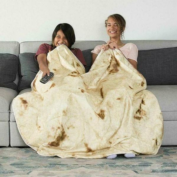 Tortilla Blanket Comfort Creations Burrito Wrap Blanket Snack Tortilla Pattern Square Burrito Shaped for Car Office