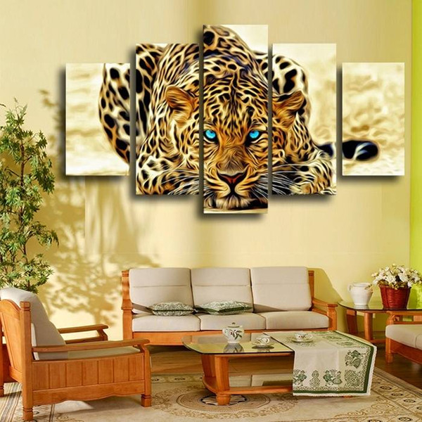 5pcs/set Unframed Leopard Gaining Momentum Oil Painting On Canvas Wall Art Picture For Home Decoration