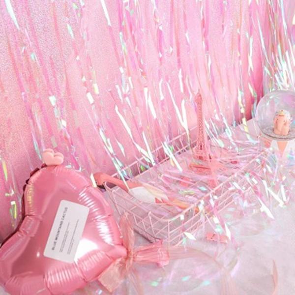 1 * 2 Mt Folie Lametta Fransen Vorhang Hochzeit Hintergrund Transparente Bunte Film Quasten Room Party Geburtstag Dekoration Foto Hintergrund