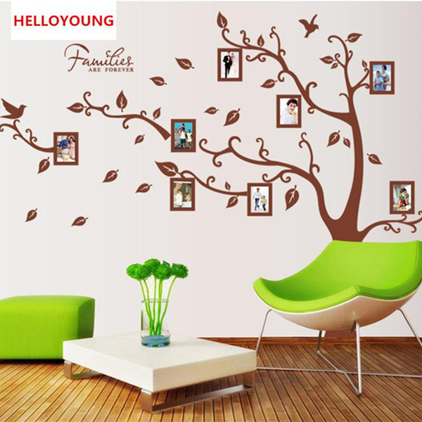 DIY Wall Sticker Large Brown 3D DIY Photo Tree PVC Wall Decals/Adhesive Family Wall Stickers Mural Art Home Decor