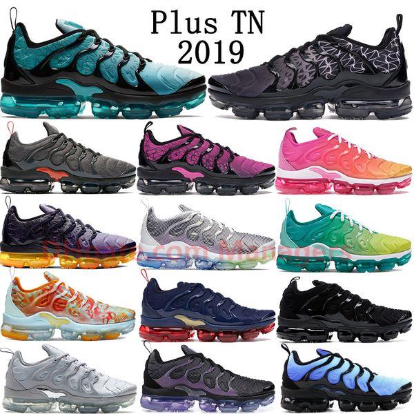 2019 Yeni Nike Air Vapormax plus Artı TN Ruhu Teal Geometrik Aktif Lazer Fuşya Psişik Pembe Limon Kireç Üçlü Siyah Olimpiyat erkekler kadınlar koşu ayakkabı sneakers