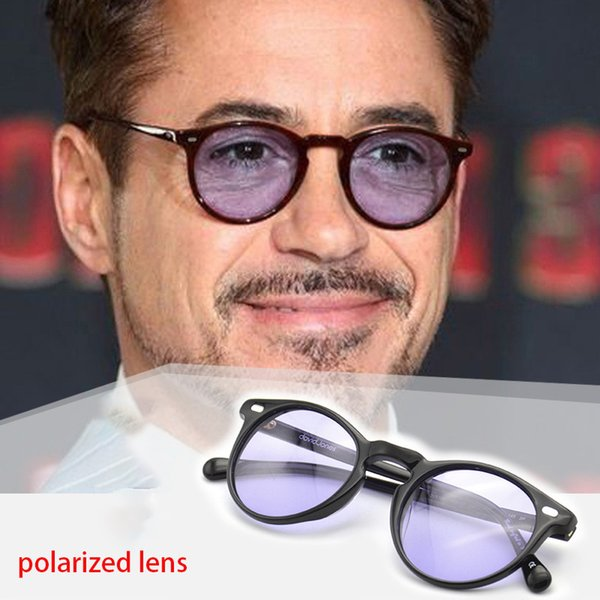 Vazrobe Polarized Mens Sunglasses Light Tint Lens Vintage Round Sun Glasses for Man Driving Steampunk Retro Eyewear Small Face