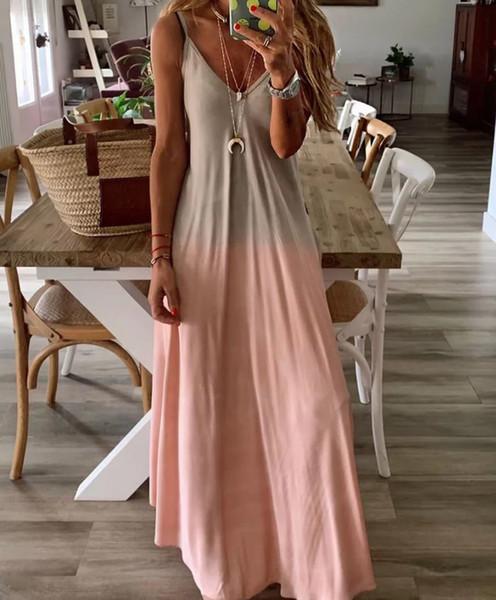 Mulheres de verão colorido gradiente Spaghetti Strap Party Dress Boho V pescoço praia Long Maxi Vestidos Plus Size 3XL