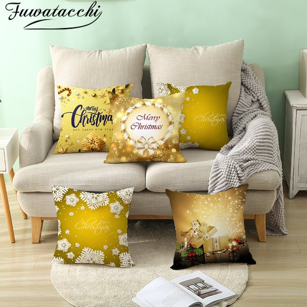 Fuwatacchi Gold Background Cushion Cover Merry Christmas New Year Gift Throw Pillow Covers for Home Sofa Decorative Pillowcases