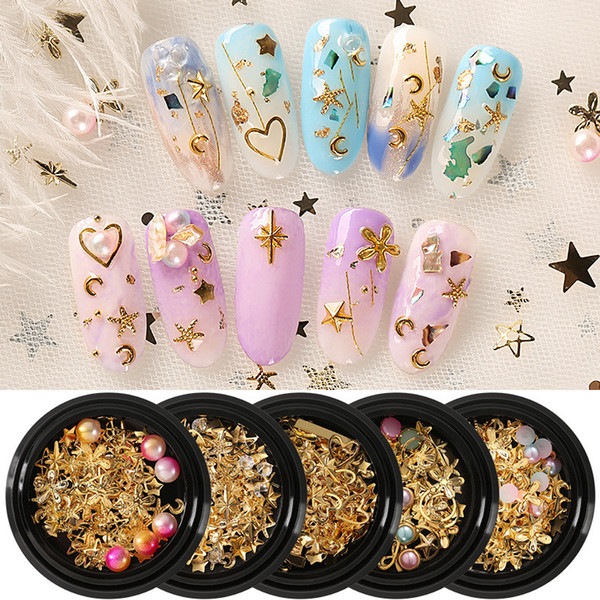 best selling Tamax NA038 Mixed Style Metal Foil Nail Chip Glitter Paillette Nail for Nail Art Design Decoration
