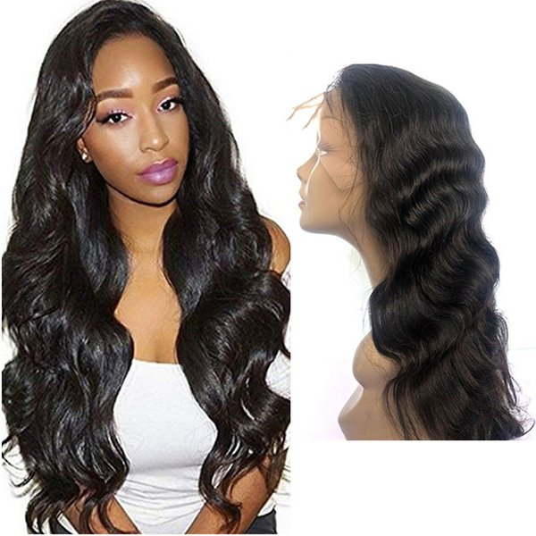 Virgin baby hair on sale human hair glueless unprocessed long natural color big curly full front lace nice looking wig