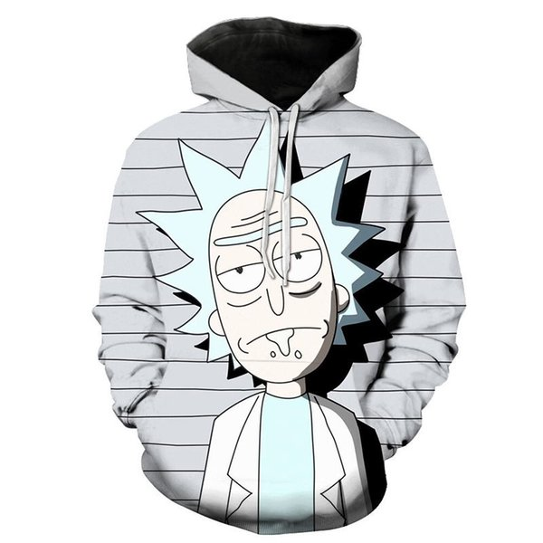 Sudadera con capucha casual impresa en 3D de dibujos animados Camiseta con capucha deportiva universal masculina / femenina impresa en manga