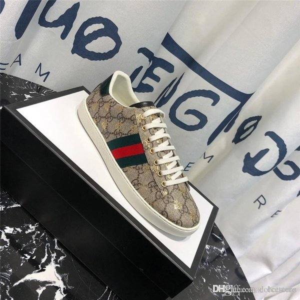 High Quality Mens 18Designer Shoes White Leather Ace Embroidered Bee  Sneakers Men Women Platform Casual Shoes 200ssGucci Boat Shoes Shoes For  Men