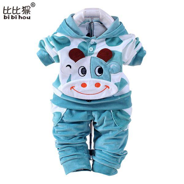Summer Girls Boys Clothes Kids Set Velvet Hello Kitty Cartoon T Shirt Hoodies Pant Twinset Long Sleeve Velour Children Clothing Y18120601