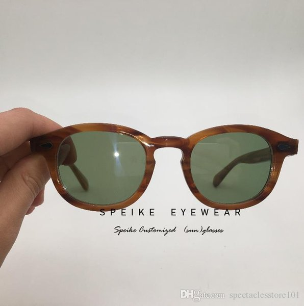 SPEIKE Customized High quality Eyewear lem-tosh Johnny Depp style flaxen blonde frame with tinted lens can be myopia reading lens UV400